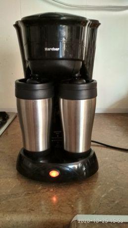 Przelweowy ekspres do kawy z dwoma termokubkami ze stali nierdzewnej