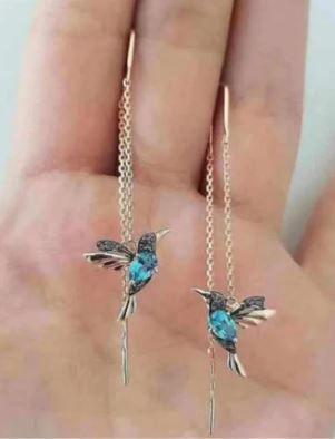 Kolczyki złote stal chirurgiczna (kolibry)