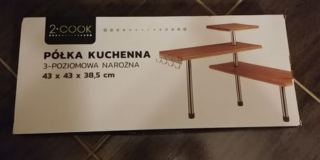 Półka kuchenna narożna 3 poziomy 4 haczyki NOWA drewno bambusowe