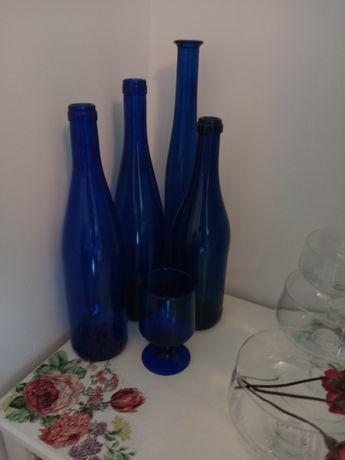 Szkło kobaltowe.butelki.wazony