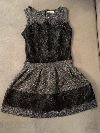 Sukienka szaro czarna z elementami delikatnej koronki
