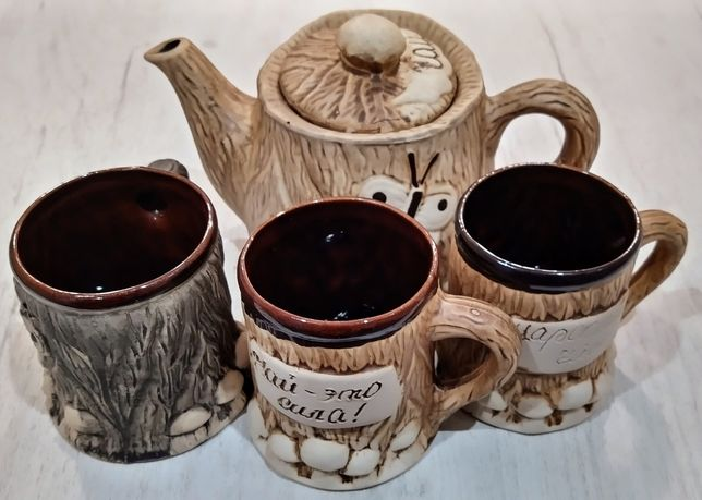 Чайник заварник и 3 чашки