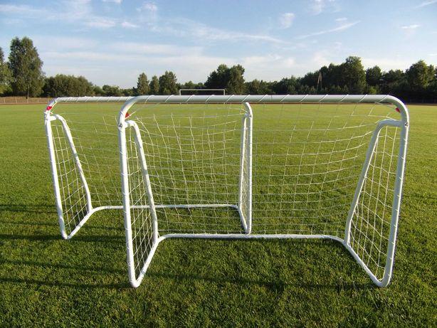 Dwie małe bramki piłkarskie dla dzieci bramka 125cm metalowe z siatką