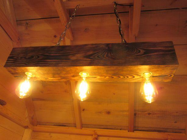 Lampa belka drewniana - altana, altanka, taras, styl rustykalny.
