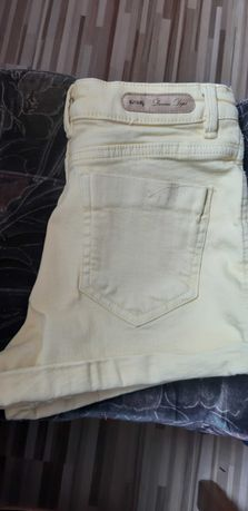 Spodenki jeans jasny zolty