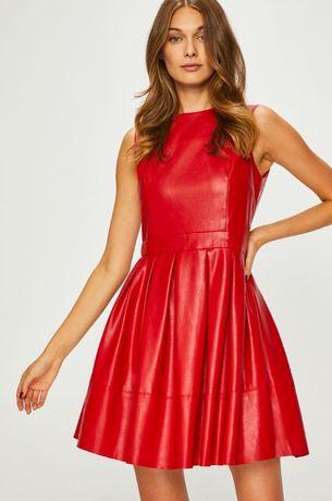 Sukienka skórzana czerwona S NOWA