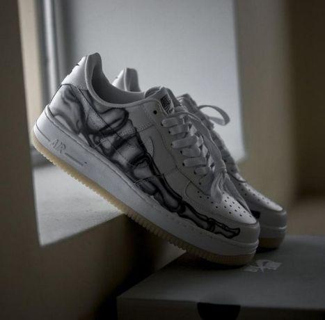 Мужские кроссовки Nike Air Force Skeleton Черные и Белые 41-45р