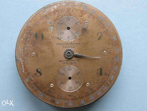 Хронограф, часы, Швейцария, 17 рубинов, раритет 1920 до1940 года