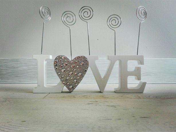 Napis Love ramka na zdjęcia cyrkonie serce