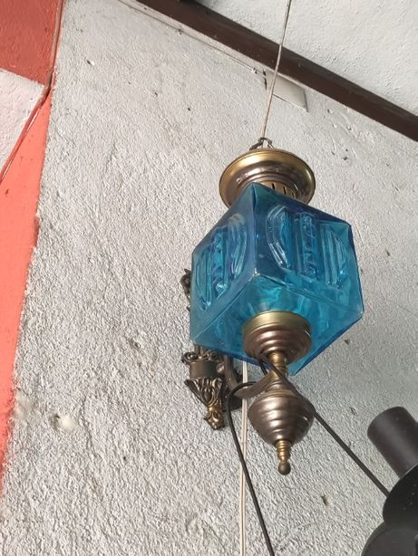 Aplique parede vidro azul vintage NOVO