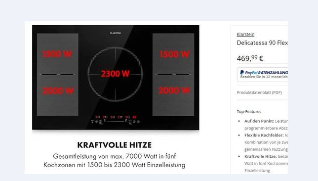 Индукционная плита KlarsteinDelicatessa 90 Flex .7 кВт.90 см. 5 мест