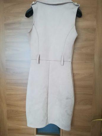 Sukienka talioeana, obcisła beżowa nowa s