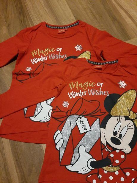 Bluzki Disney Minnie Mouse świąteczne r. 116 i 122 dla bliźniaczek