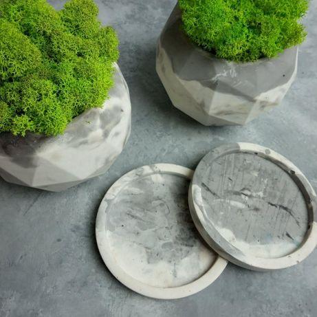 Мох в кашпо, Цветной Стабилизированный мох, Бетонные кашпо, декор мха