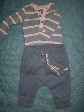 Komplet zestaw newbie paski dresowe spodnie baggy body kieszonka