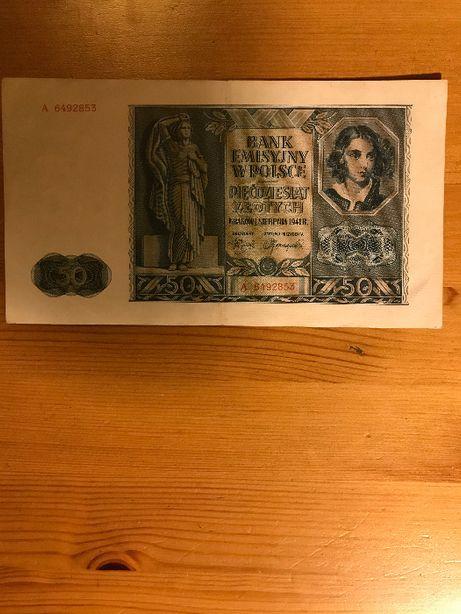 banknot 50 złotych 1941