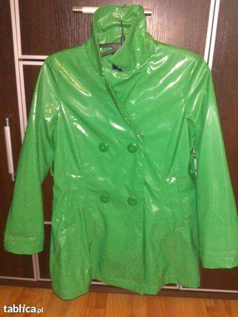 elegancki płaszczyk dla dziewczynki w kolorze zielonym