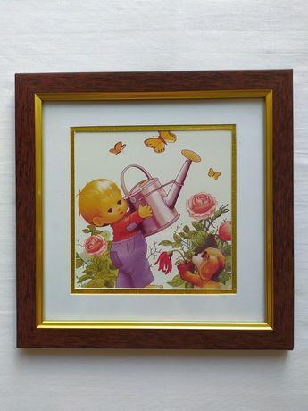 Картина детская малыш с лейкой