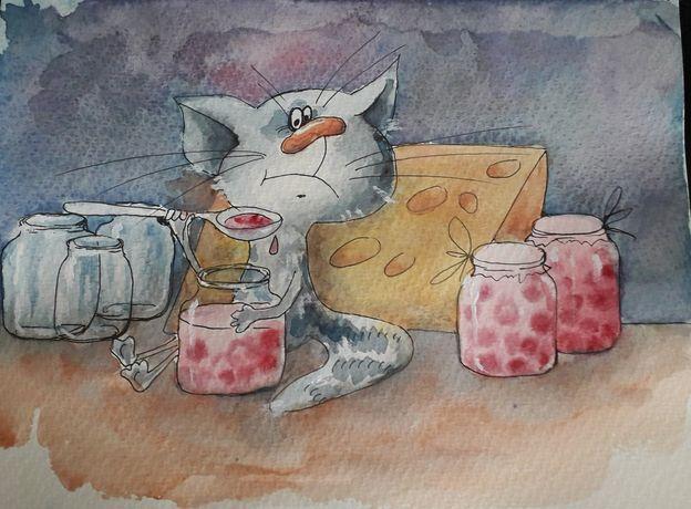 Кот. Картина для детской, кухни. Акварель.