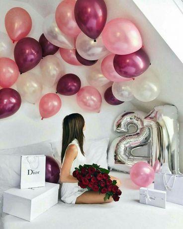 Цифра на день рождения серебро 76 см. (Шарики, фотозона, шары, декор)