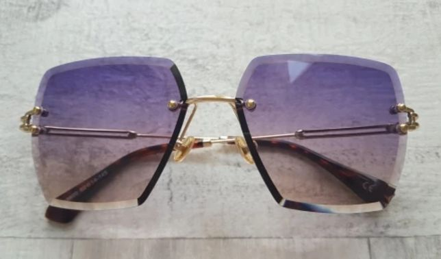 HIT Nowe stylowe okulary fiolet-róż