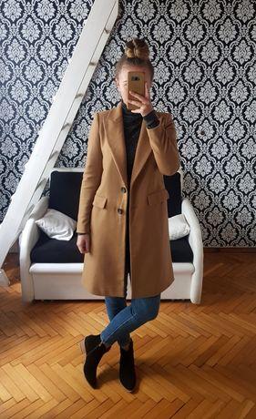 ZARA nowy płaszcz wełniany camel oversize brązowy karmelowy męski krój