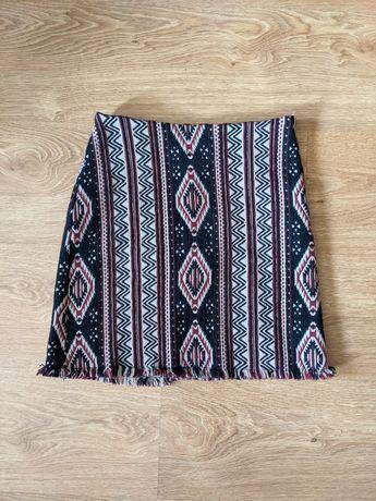 Żakardowa spódniczka spódnica wzór aztec aztecki boho Stradivarius XXS
