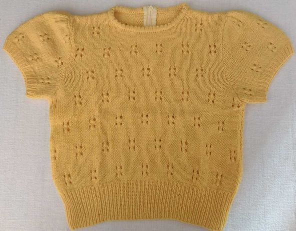 Camisola para Menina ou Menino 12-36M em Tricô Amarela Torrada - NOVA!