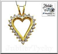 Złote duże serce z cyrkoniami serduszko wisiorek złoto Jubiler Tychy