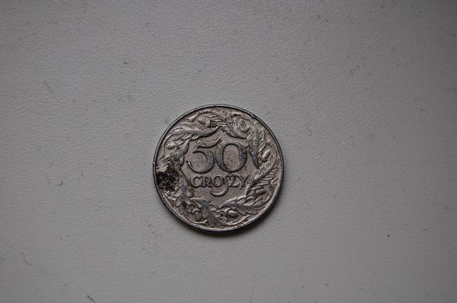 Moneta 50 groszy z 1938 roku.