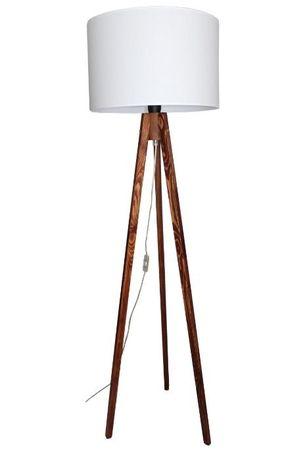 LAMPA stojąca PODŁOGOWA trójnóg drewno ABAŻUR 45 cm Wysokość 165 cm