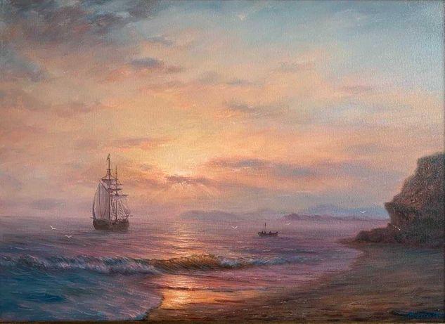 """Картина маслом на холсте.''На восходе солнца"""""""