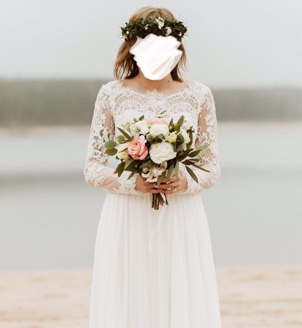Suknia ślubna 34/36 Romantyczna suknia slubna sabe, rustykalna, boho.