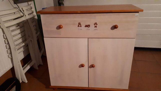 Komoda sosnowa transparentny biały Drewex z półką na przewijak