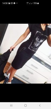 Philipp Plein czarna rozciągliwa sukienka r.L
