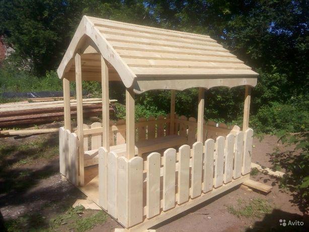 Детский игровой домик, деревяный домик на игровую площадку