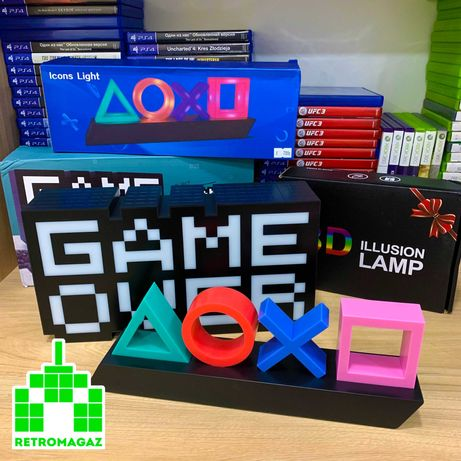 PlayStation Icons Light Светильник Лампа Game Over USB AAA