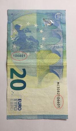 curiosidade - nota de 20 EURO 2015 - mini capicua