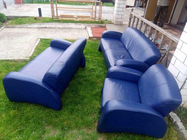 Кожаный диван кресло (комплект)
