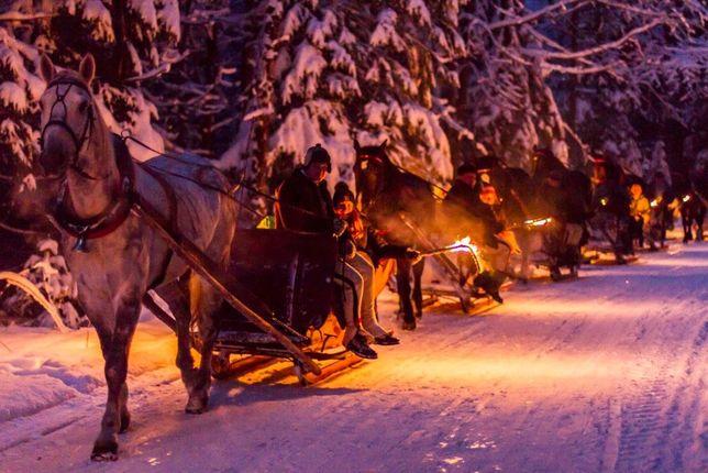 Zimowe KULIGI z ogniskiem i pochodniami - 40 zł do uzgodnienia.