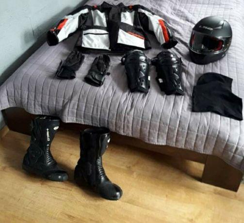Zestaw na motocykl kurtka kasy buty ochraniacze rękawice