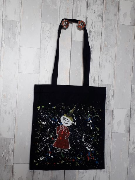 Torba torebka eko ręcznie malowana Mała Mi Muminki Myszka Miki czarna