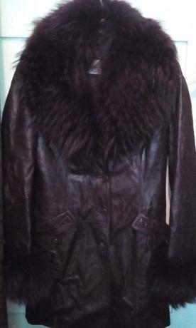 Кожаная зимняя женская куртка, воротник лиса, подкладка кролик
