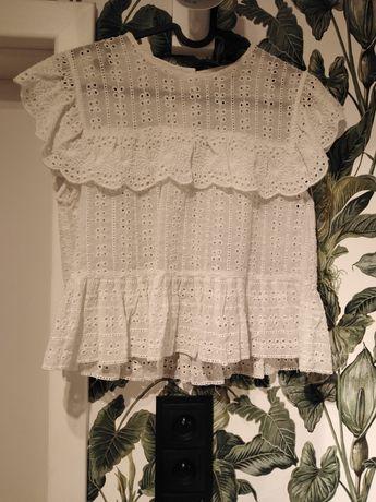 ZARA biała koronkowa romantyczna bluzka