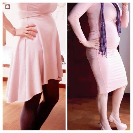 Zestaw 2 sukienek ciążowych kolor złamany róż: Reserved i TkMaxx