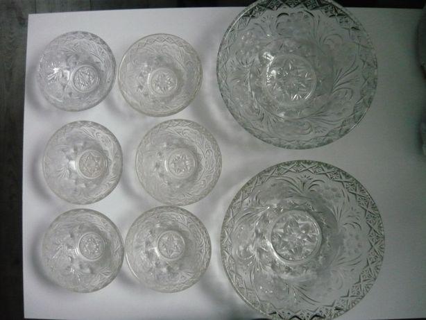 2 duże szklane misy+6 salaterek Ząbkowice kmpl.