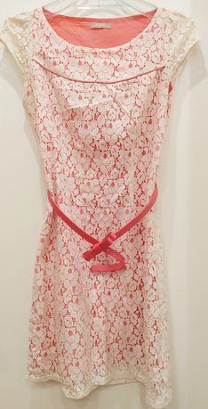 Sukienka Orsay, koronkowa, biało-różowa