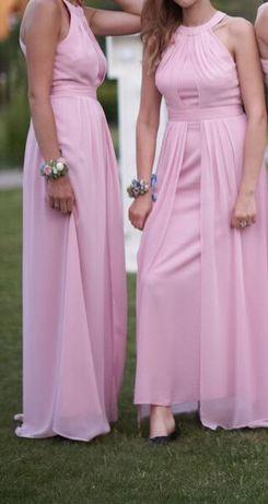 Sukienka różowa długa na wesele dla druhny ASOS