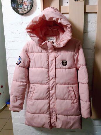 Пуховик куртка зимняя холлофайбер пудра розовая