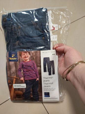 Nowe ocieplane jeansy 74/80
